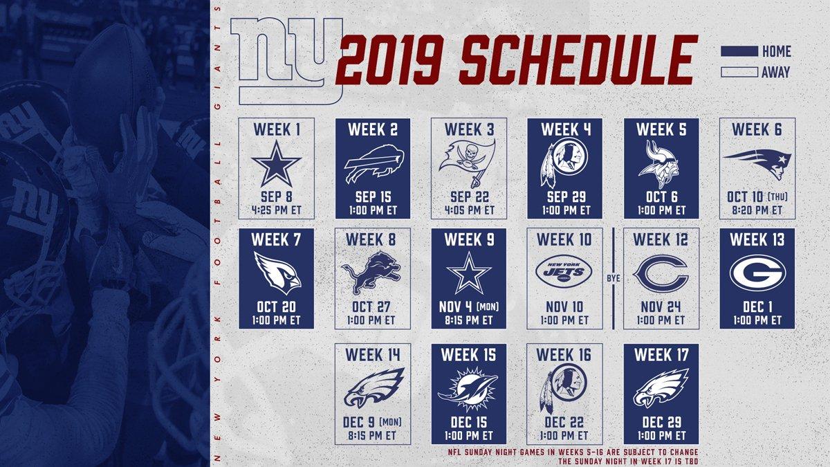 Giants 2019 Schedule